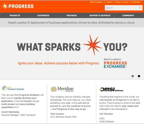 Grant Walmsley, CMS Transport Systems, quoted on the home page of Progress.com.