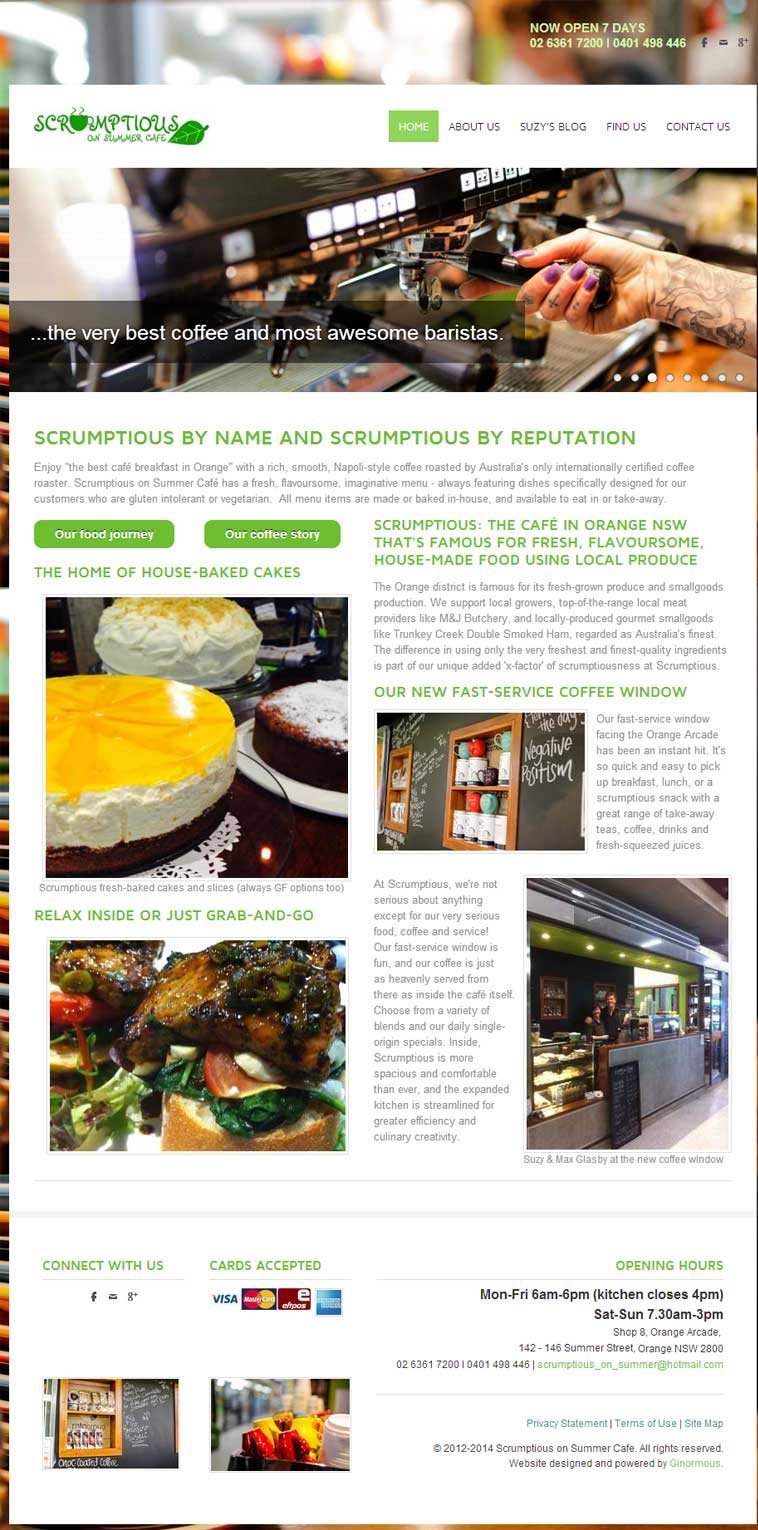 Website design for cafe, Scrumptious on Summer