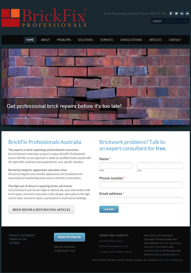 Website design for brickwork repairs, BrickFix