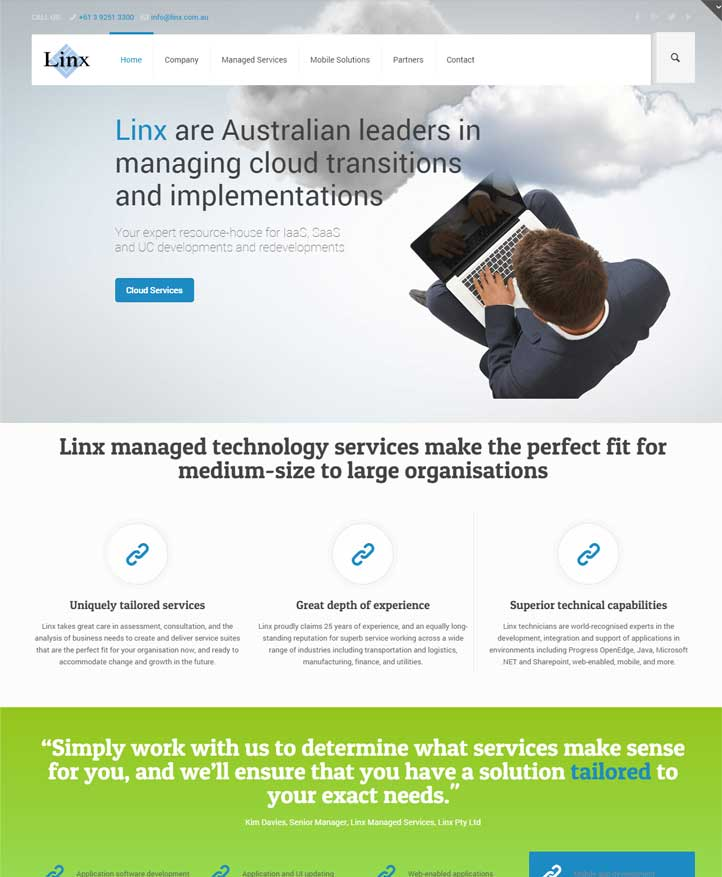 Website design for enterprise technology, Linx