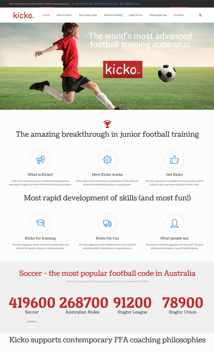 Website design for soccer training equipment, Kicko