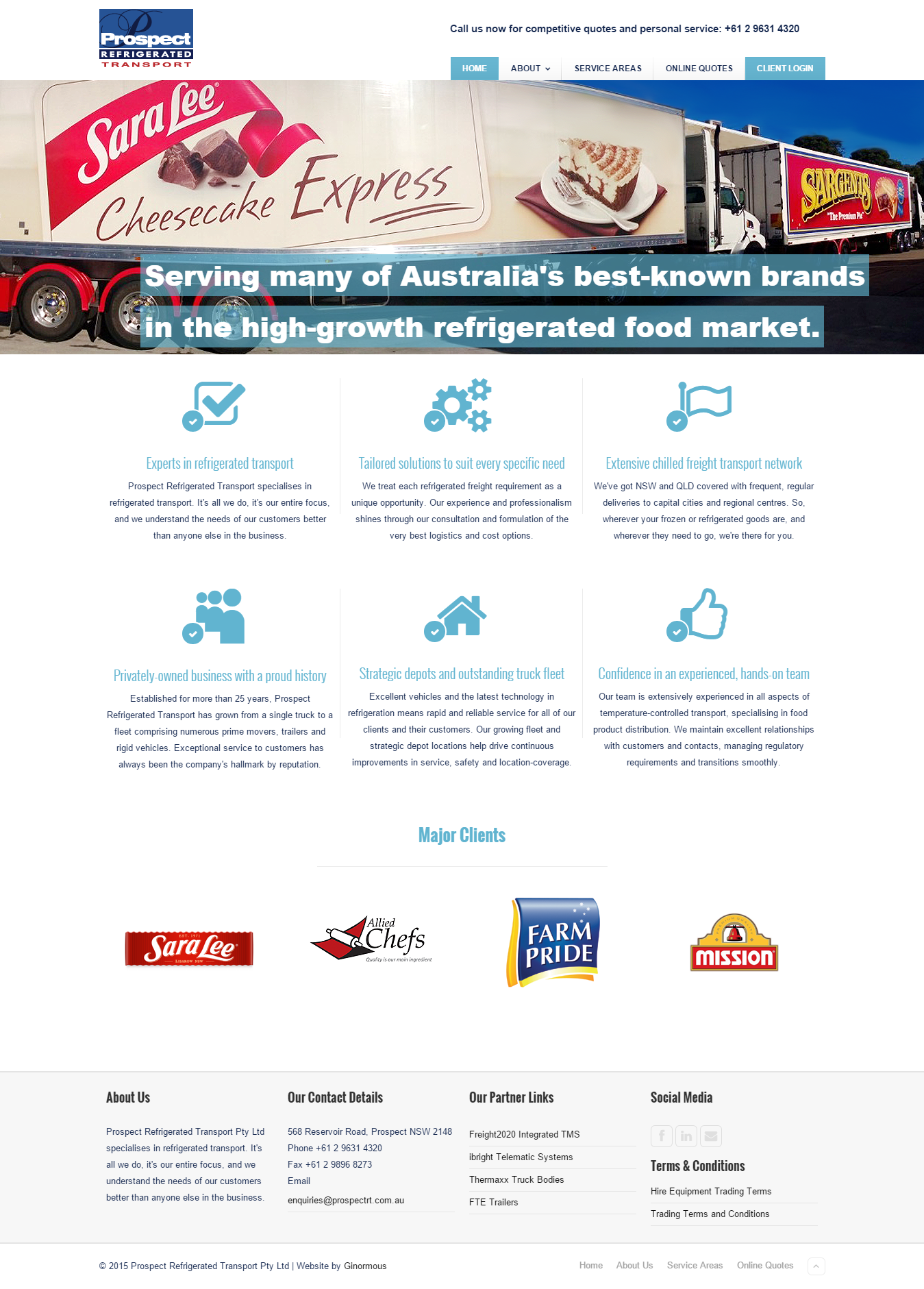 Website design for refrigerated transport company, PRT