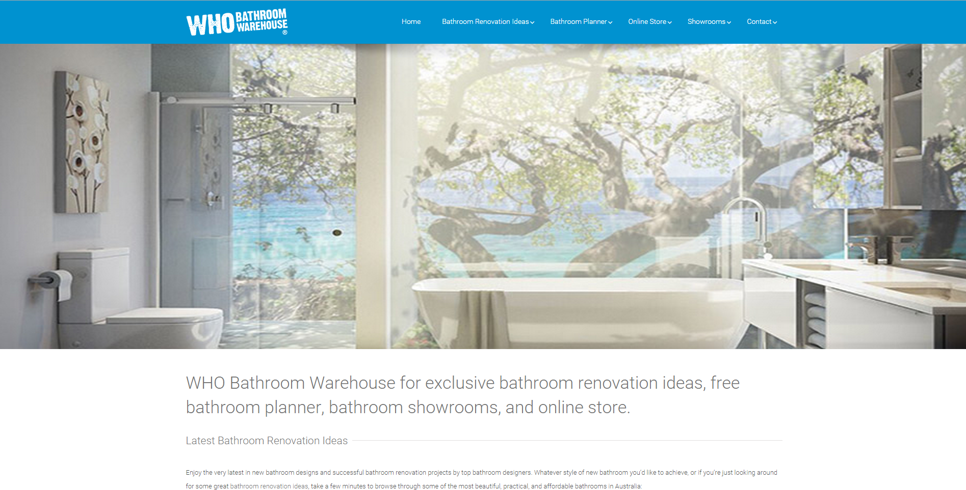 The new WHO Bathroom Warehouse main website - a virtual showroom linking through to the online store