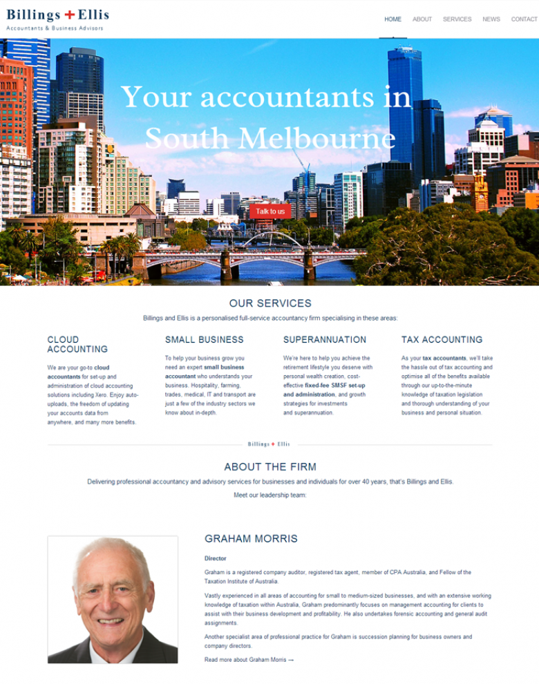 Website design for accountants, Billings + Ellis