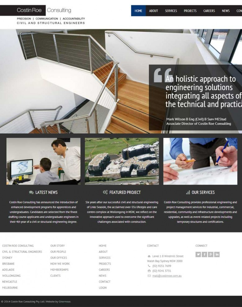 Website design for civil and structural engineers, Costin Roe Consulting